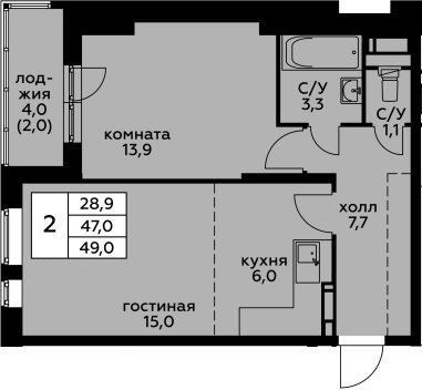 2Е-к.кв, 49 м²