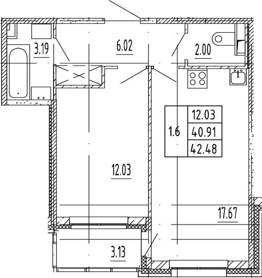 2Е-комнатная, 40.91 м²– 2