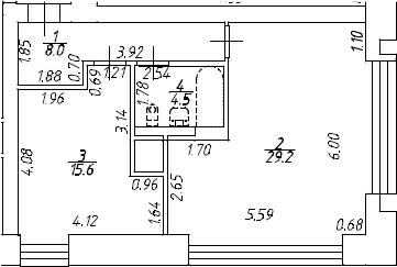 2Е-комнатная, 57.3 м²– 2