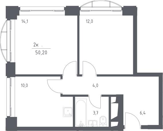 2-к.кв, 50.2 м², 5 этаж