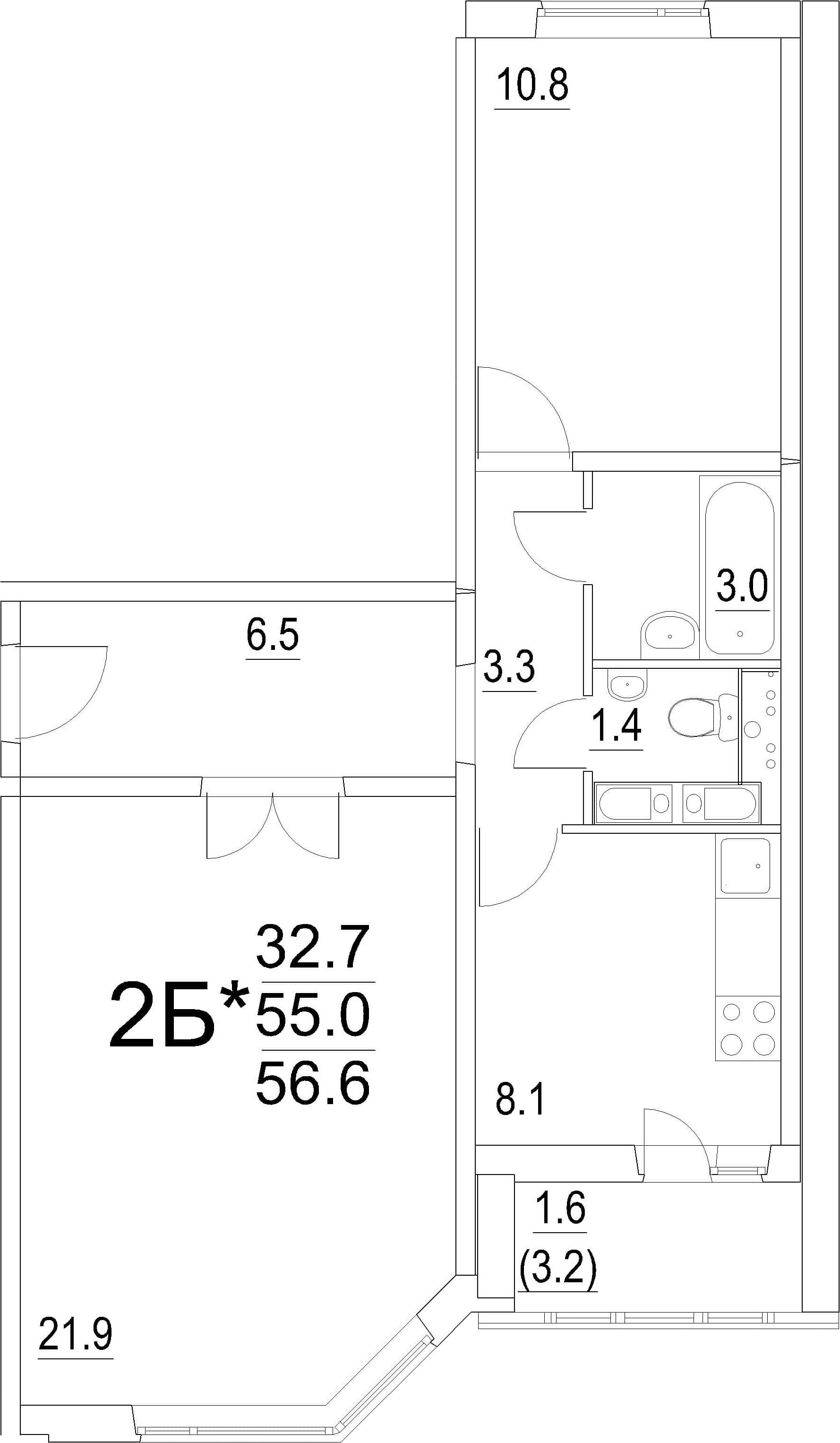 2-к.кв, 58.2 м²