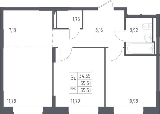 3Е-к.кв, 55.51 м²