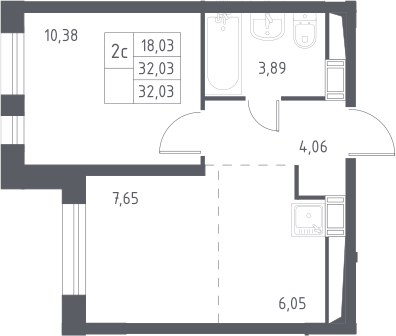 2Е-к.кв, 32.03 м², 17 этаж