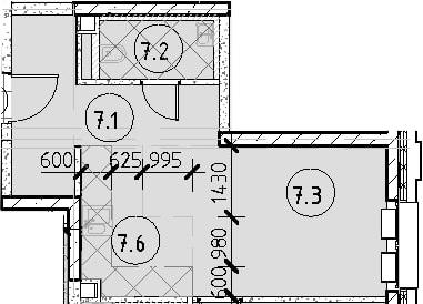 2Е-комнатная, 50.39 м²– 2