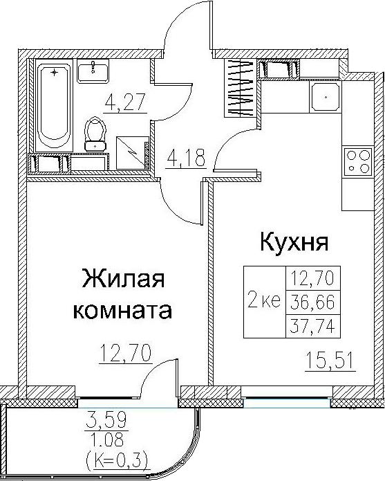 2Е-к.кв, 37.74 м², от 3 этажа