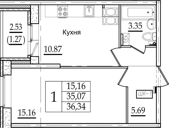 1-комнатная, 35.34 м²– 2