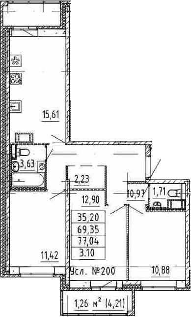 4-к.кв (евро), 77.04 м²