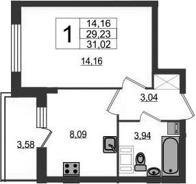 1-комнатная квартира, 32.81 м², 3 этаж – Планировка