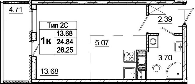 Студия, 24.84 м²– 2