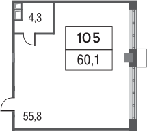 Своб. план., 60.1 м²