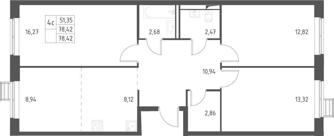 4Е-комнатная, 78.42 м²– 2