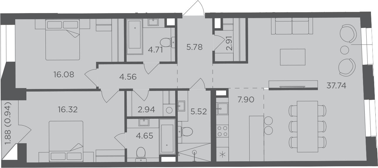3Е-комнатная, 110.05 м²– 2