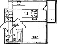 2Е-комнатная, 33.85 м²– 2