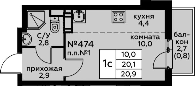 Студия, 22.77 м²