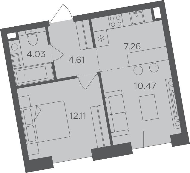 2Е-комнатная, 38.48 м²– 2