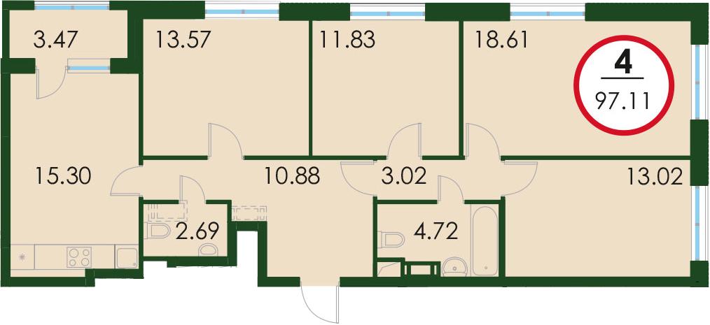 4-комнатная, 96.59 м²– 2