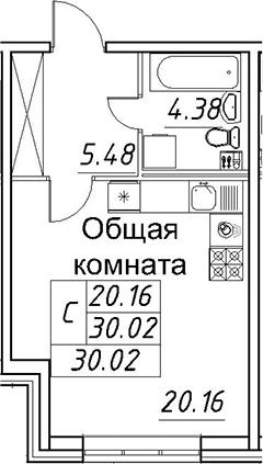 Студия, 30.02 м²