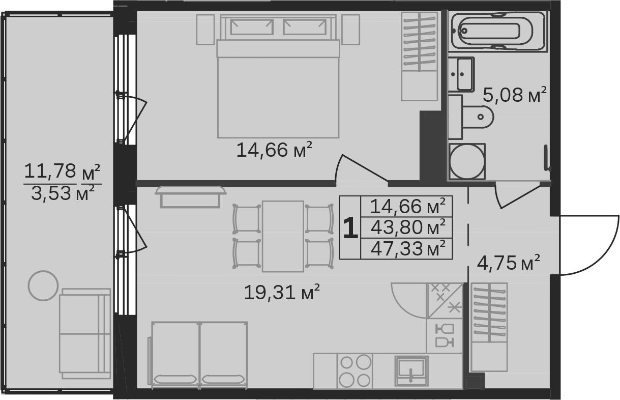 2-к.кв (евро), 55.57 м²