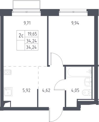 2Е-к.кв, 34.24 м², 2 этаж