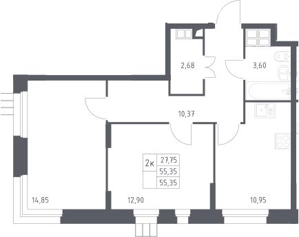 2-к.кв, 55.4 м²