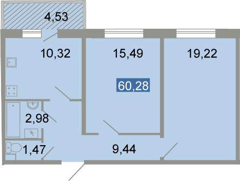 2-к.кв, 63.45 м²
