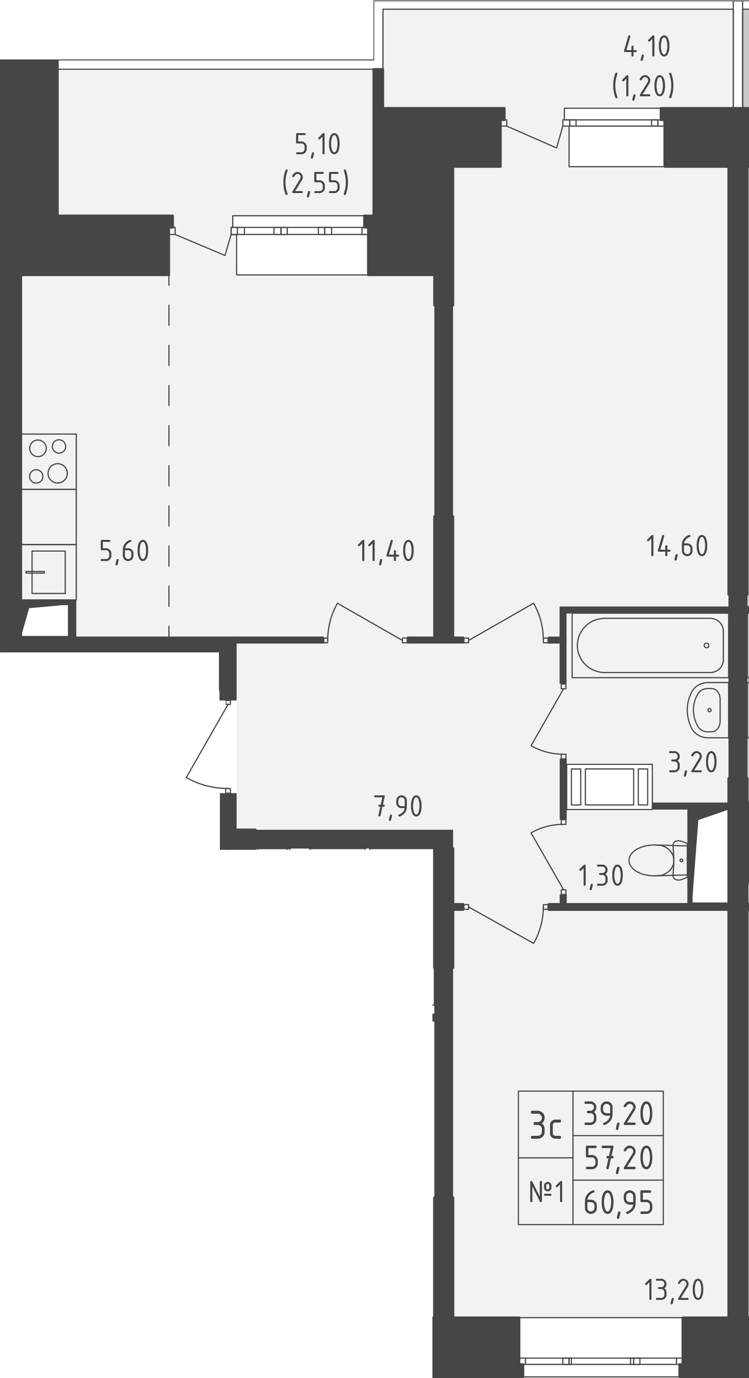3-к.кв (евро), 67.13 м²