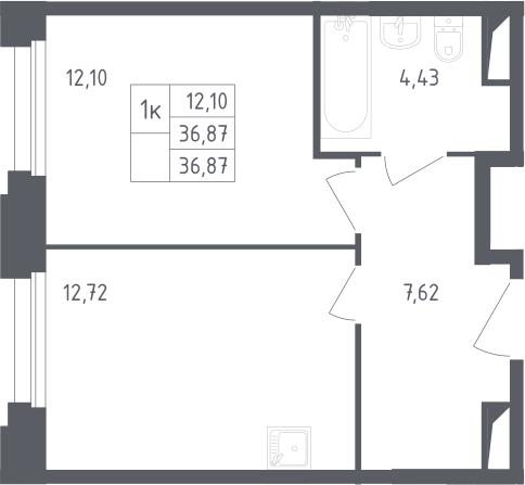 1-комнатная, 36.87 м²– 2