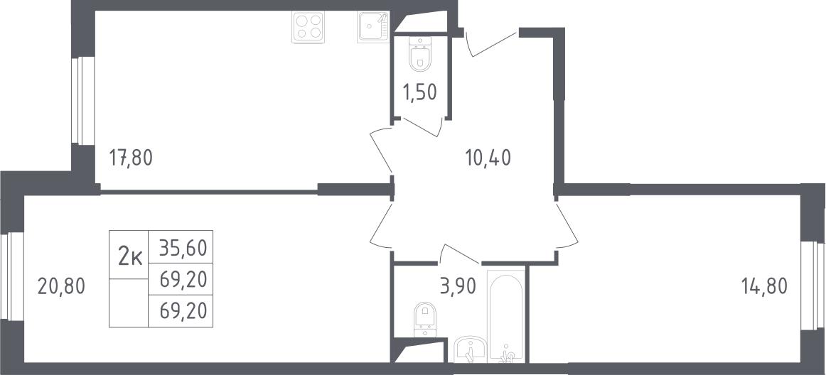 3-к.кв (евро), 69.2 м²