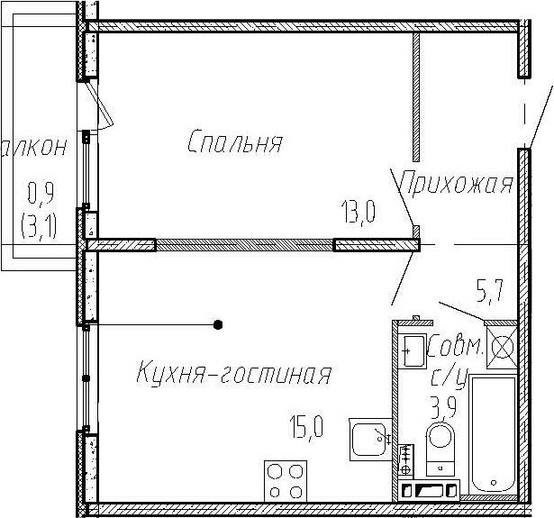 2Е-к.кв, 37.6 м², 3 этаж