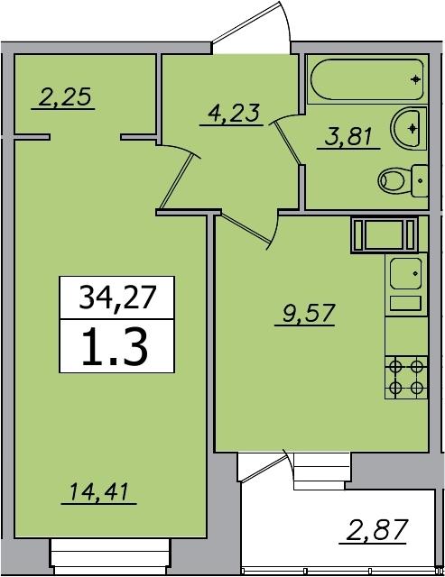 1-к.кв, 37.14 м²