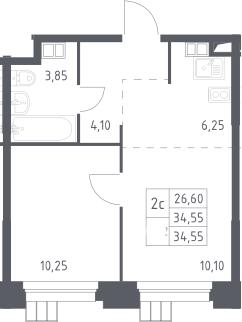 2Е-к.кв, 34.55 м², 13 этаж