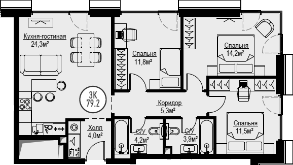 4Е-к.кв, 79.2 м², от 17 этажа