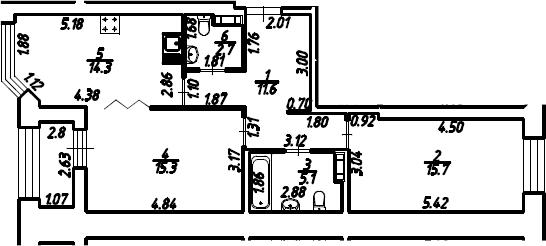 2-к.кв, 66.1 м², 11 этаж