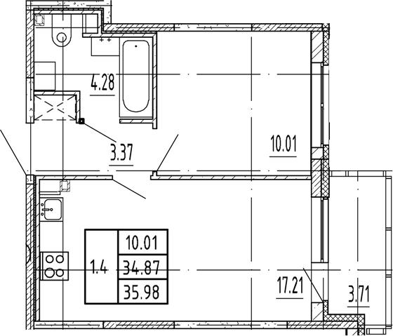 2Е-комнатная, 34.87 м²– 2