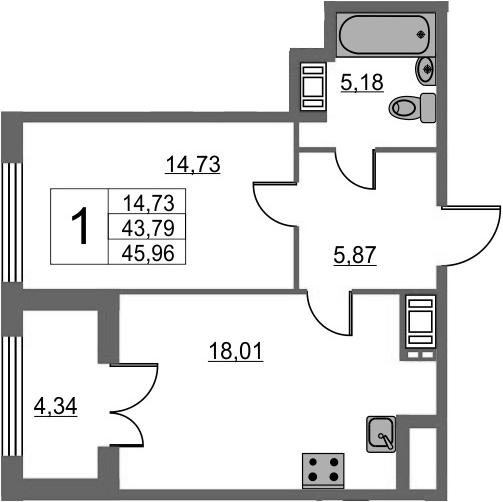 1-к.кв, 48.13 м²