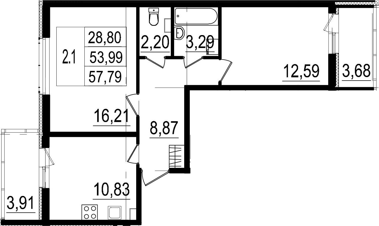 2-к.кв, 61.58 м²