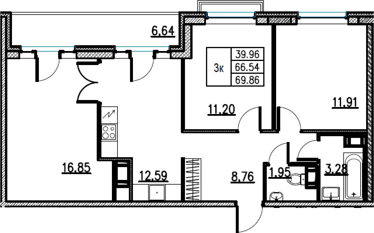 3-комнатная, 69.86 м²– 2