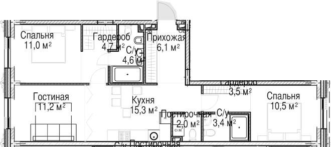 3-к.кв (евро), 72.5 м²