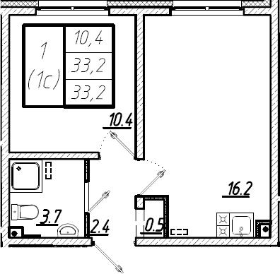 2Е-комнатная, 33.2 м²– 2