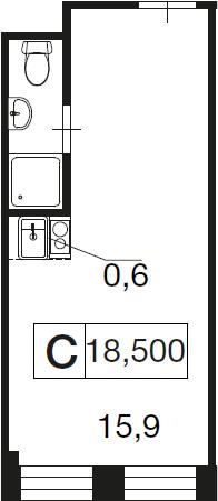 Студия, 18.5 м²– 2