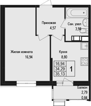 1-к.кв, 37.09 м²