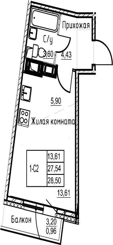 Студия, 28.5 м², 22 этаж – Планировка
