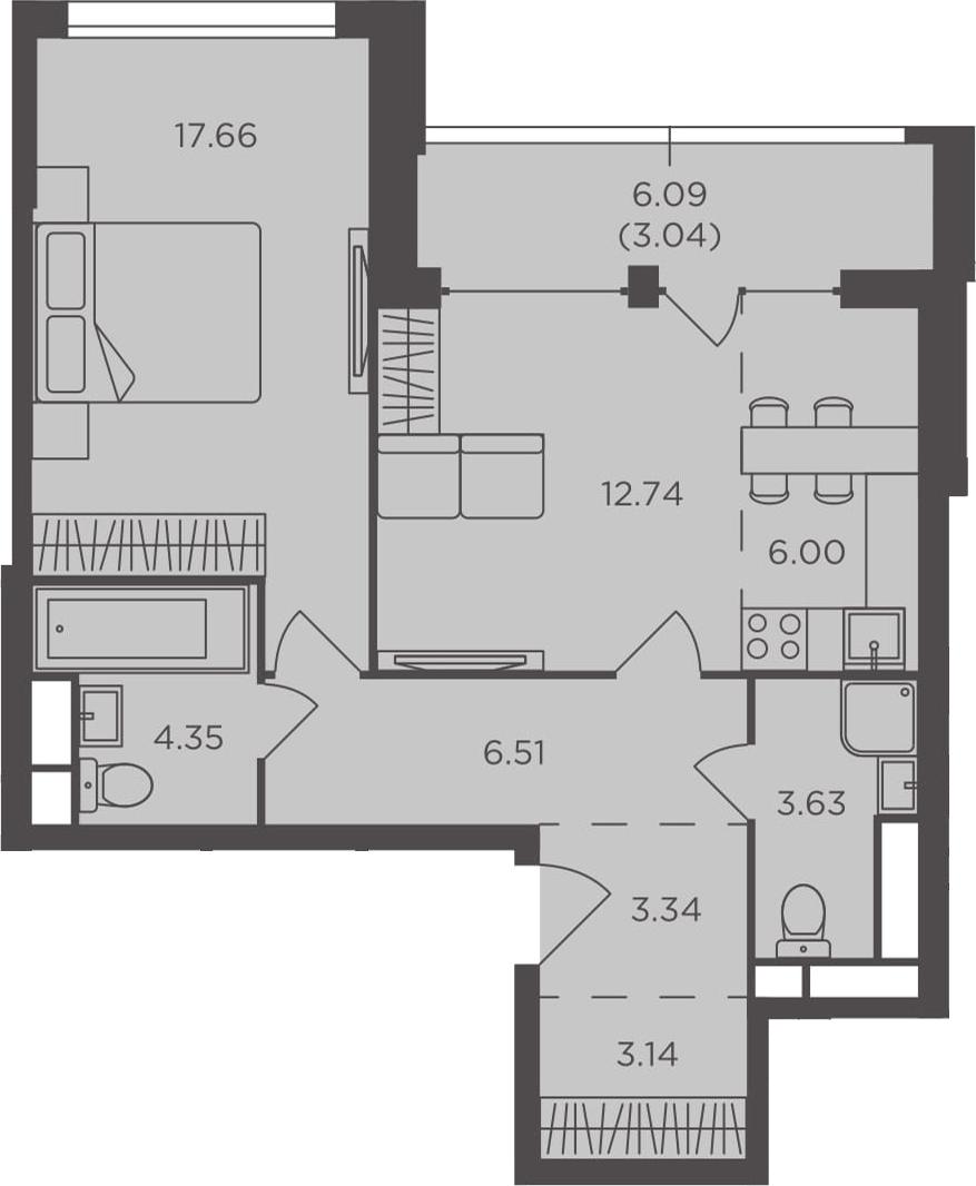 2Е-к.кв, 60.41 м², 4 этаж