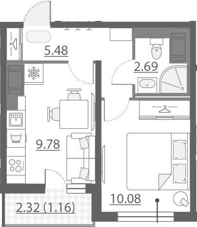 1-к.кв, 29.19 м²