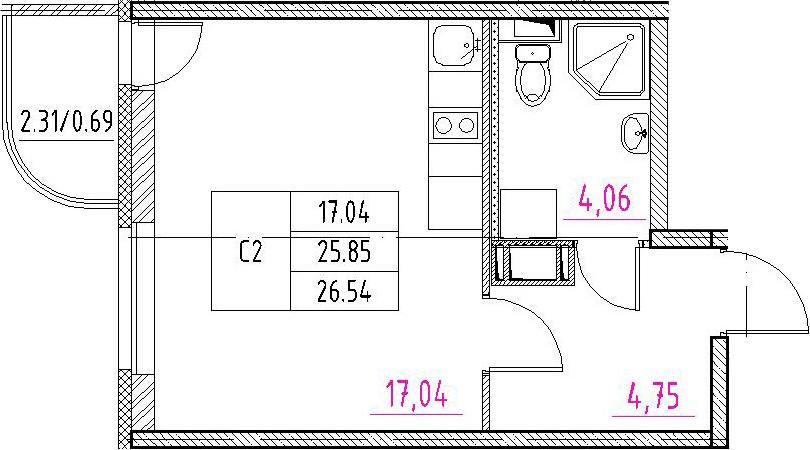 Студия, 26.54 м²– 2