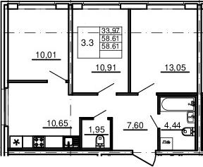 3-к.кв, 58.61 м²