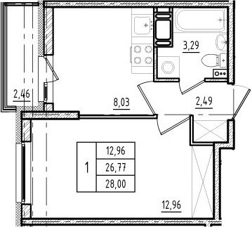 1-к.кв, 26.77 м², 5 этаж