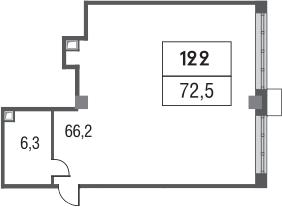 Свободная планировка, 72.5 м²– 2