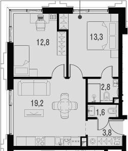 3Е-комнатная, 53.5 м²– 2