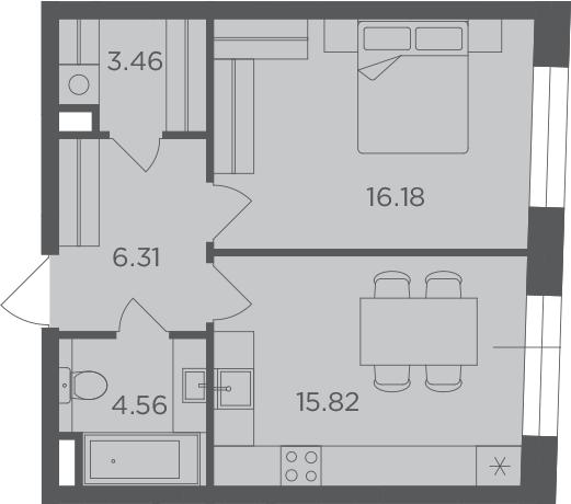 1-комнатная, 46.33 м²– 2